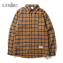 Gersri Men Shirt Pure 100% Cotton Grid Casual Loose New Long Sleeve Male Plaid High Quality Soft Brand Autumn Spring
