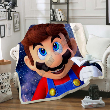 Super Mario Cartoon Blanket Design Flannel Fleece Blanket Printed Children Warm Bed Throw Blanket Kids Blanket style-7 фото