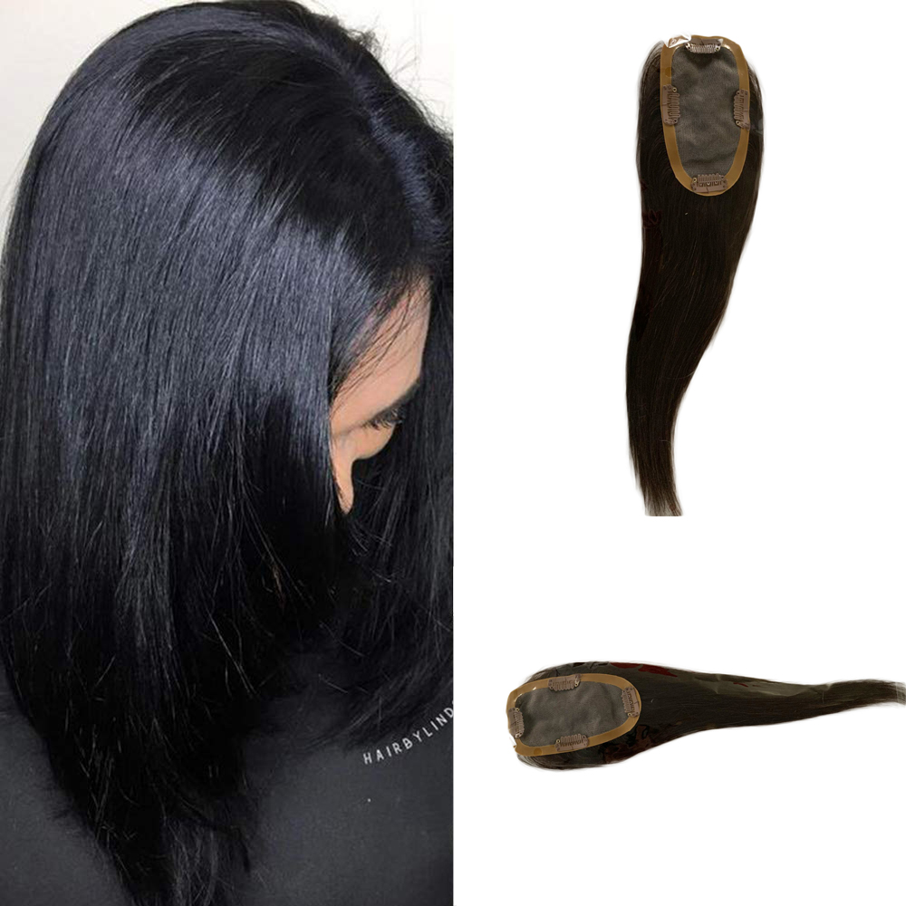 BYMC Human Hair Loss Concealer BOOST Hair Volume Instantly Invisible Real Remy Human Hair Silk Base Topper For Women Clip