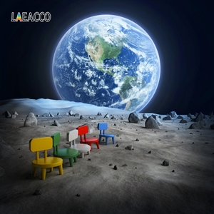 Image 5 - Laeacco Universe Backdrops Space Moon Surface Earth Baby Portrait Photography Backgrounds Birthday Photocall For Photo Studio