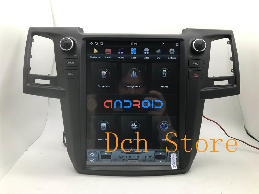 12.1'' Vertical tesla style Android 9.0 Car DVD player GPS for Toyota Fortuner hilux 2008-2015 for AUTO AC NAVIGATION PX6 IPS