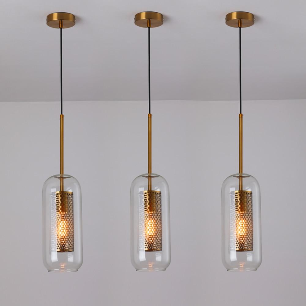 lowest price Loft Modern Pendant Light Glass Ball Hanging Lamp Kitchen Light Fixture Dining Hanglamp  Living Room Luminaire