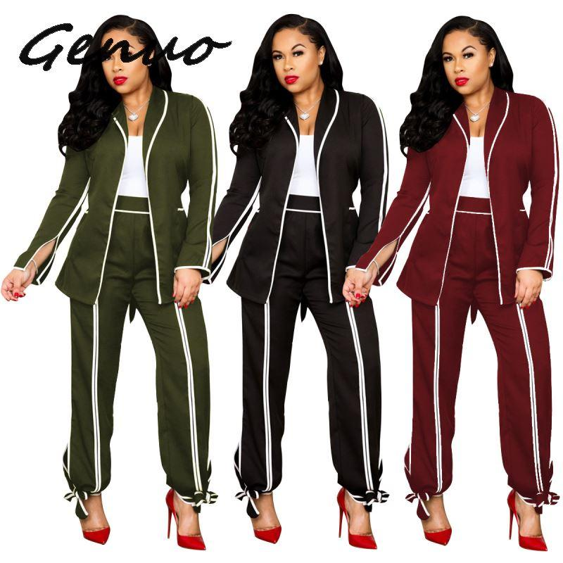 Genuo New Women Stripes Splicing Long Sleeve Open Stitched Notched Neck Blazers Long Pants Suit Two Piece Set Vintage Tracksuit