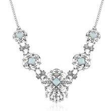 цена на Bohemian Antique Gold Silver Hollow Flower Inlay Rhinestone Pendant Necklace Women Fashion Geometric Shape  Tassel  Necklace