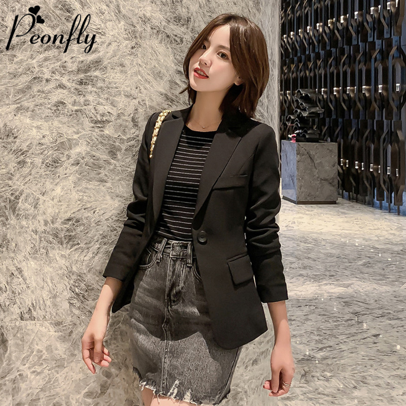 PEONFLY Women Blazer Jacket Solid Color Basic Notched Jackets Candy Color Long Sleeve Casual Slim Suit Blazer Female