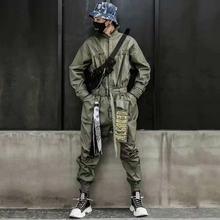 Модный комбинезон карго мужской в стиле хип хоп с длинным рукавом