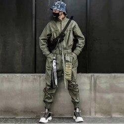 Di modo Cargo Tuta Uomini Hip Hop Tute e Salopette Manica Lunga casual Punk Streetwear di Un Pezzo Body e Pagliaccetti Più Il Formato Slacciano I Pantaloni Maschili