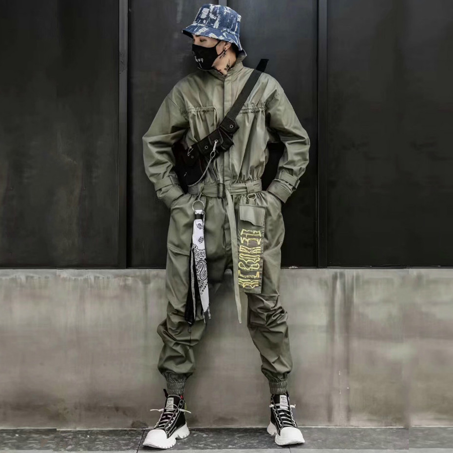 Fashion Cargo Jumpsuit Men Hip Hop Overalls Long Sleeve Casual Punk Streetwear One Piece Rompers Plus Size Loose Male Trousers
