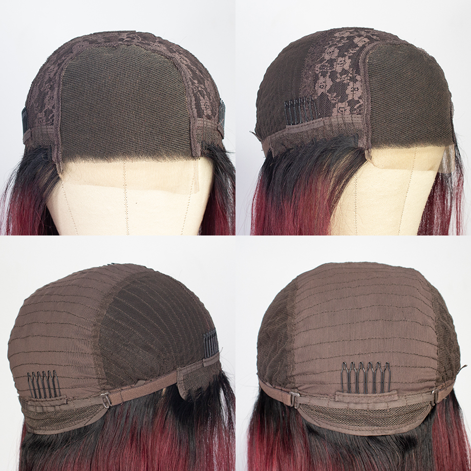 Ombre 4x4 Closure Wig Bone Straight  Wigs  T1b/99j   Cosplay Wig Lace Frontal Wigs 5
