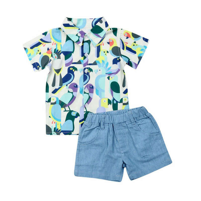 Zomer Baby Jongens Baby Kids 1-5Y Kleding Sets Korte Mouwen Parrot Print Shirts Tops Shorts Broek Outfits Kleding