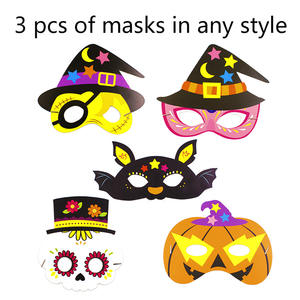 Halloween Mask Diy Cartoon Pattern Paper Children Masquerade Party Mask Handmade Creative Kids Cosplay Party Mask 3 pcs