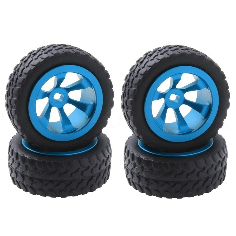 4Pcs/Lot Metal + Rubber Tires & <font><b>Wheels</b></font> for WLtoys 1/28 <font><b>RC</b></font> Car K969 K989 K999 P929 4WD Short Course Drift Off Road <font><b>Rally</b></font> Replacem image