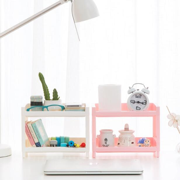 Plastic Desktop Stationery Organizer Racks Bathroom Cosmetics Shelf Multi-layer Desk Storage Rack