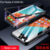 Luxury Magnetic Adsorption Case For Nubia X NX616J Metal Frame Clear Tempered Glass Cover For NubiaX Magnetic Cases Coque
