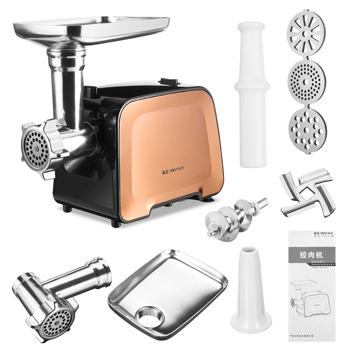 NONTAUS Brand 100% 3000W Electric Meat Grinder Stainless Steel Multifunction Food Chopper Sausage Stuffer Appliance For Kitchen