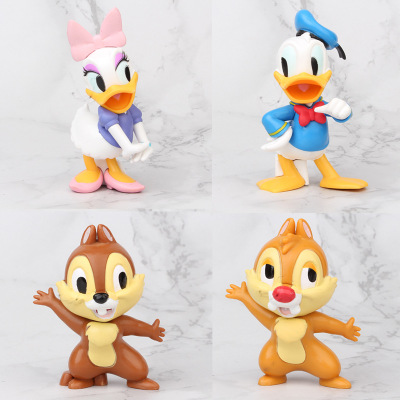 4pcs/lot Mickey Figures Donald Duck Daisy Duck Chip 'n' Dale Cartoon PVC Figure Collection Model Toy Dolls