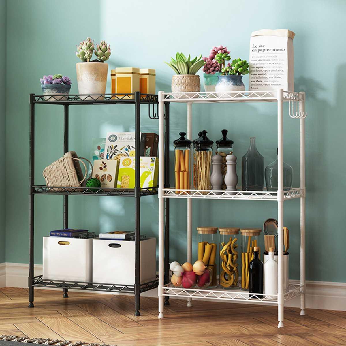 Support d'étagère réglable de stockage de fil d'acier au carbone de 3 couches pour l'organisateur de support de stockage de salle de bains de cuisine avec 3 tampons de PP et 4 crochets de S