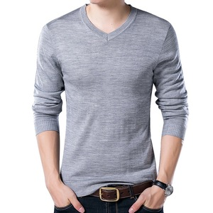 Thin V Neck Knitted Sweaters Men Clothing Autumn Winter Knitwear Top Pullovers Sweater Vintage Tricot Pull Homme Slim Jumper