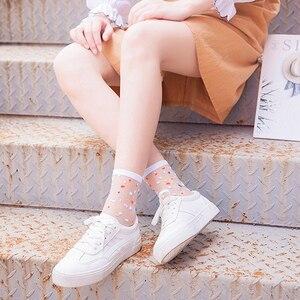 Image 4 - Spring Summer Ultra thin Glass filament Socks Woman Printing Dots Korean Style Silk Socks Cute Stripe Transparent Socks