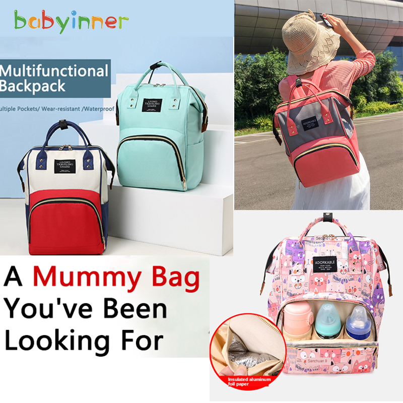 Baby Inner Large Capacity Mummy Bag 26*16*40cm Nylon Wear-resistant Backpack Waterproof Diaper Bag Insulated Bottle Portable Bag