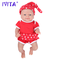 IVITA WG1512 36cm 1.65kg Full body silicone bebe reborn doll with 3 colors eye realistic girl baby toy for children with clothes