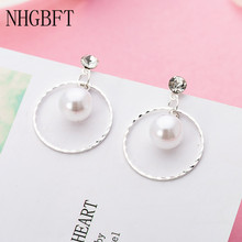 NHGBFT Long Tassel Simulated Pearl Drop Earrings For Women Wedding Engagement Jewelry round love heart earring ukebay new tassel long pearl earring drop earrings korean style boho jewelry for statement women earrings wedding gifts jewelry