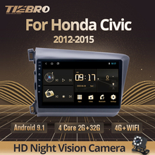 TIEBRO-lecteur multimédia pour Honda Civic, autoradio, vidéo, IPS, sans 2din, sous Android 9.0, 2 go + 32 go, avec Navigation GPS, pour modèles de 2012 à 2015