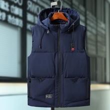 Plus Size 9XL Mens Winter Jassen Casual Dikke Vesten Mannen Mouwloze Hoodie Jassen Mannelijke Katoen Gevoerde Warme Slanke Pocket Vest