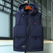 Plus rozmiar 9XL męskie zimowe kurtki na co dzień grube kamizelki mężczyźni bluza z kapturem bez rękawów płaszcze męskie bawełniane wyściełane ciepła, slim kieszeni kamizelki