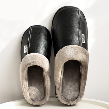 Pmoiste Women Winter Home Slippers Leather Waterproof Non slip Female slippers Male Plush Warm Indoor slippers for women lovers short plush winter warm indoor slippers casual men