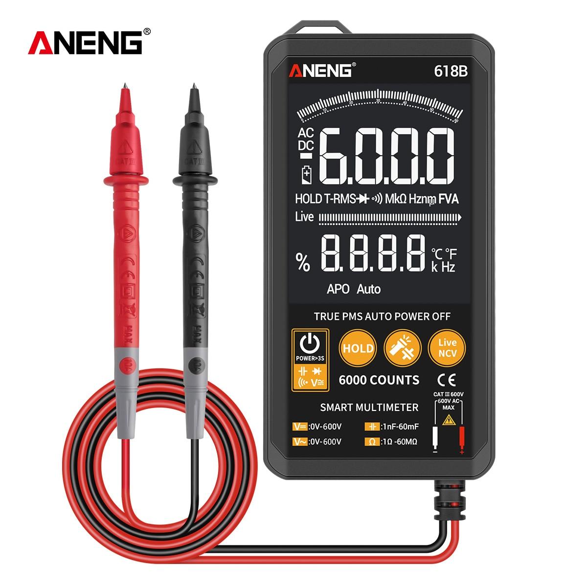 Цифровой мультиметр ANENG с автоматическим выбором диапазона и звуковой непрерывностью, True RMS мультиметр с подсветкой, тестер напряжения пост...