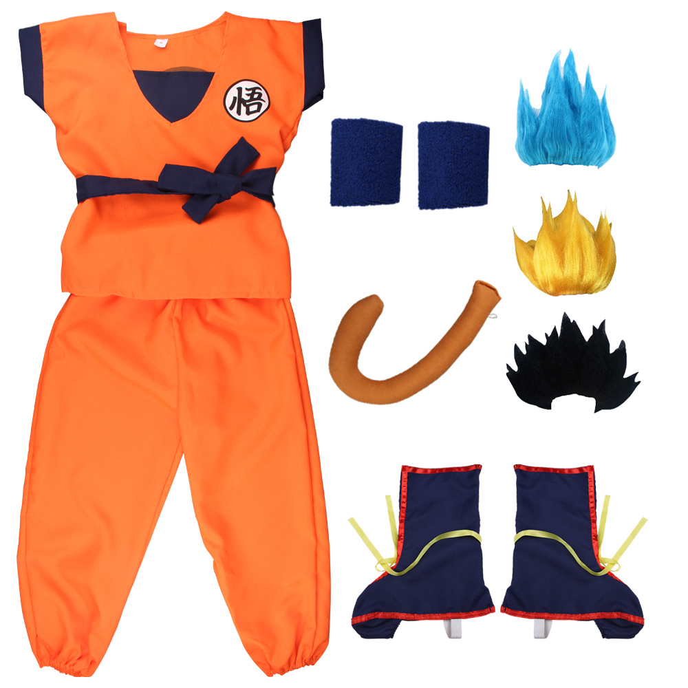Free Shipping Holiday Dragon Ball Suits Son Goku Carnival Anime Cosplay Costumes Top/Pant/Belt/Tail/wrister/Wig For Adult Kids