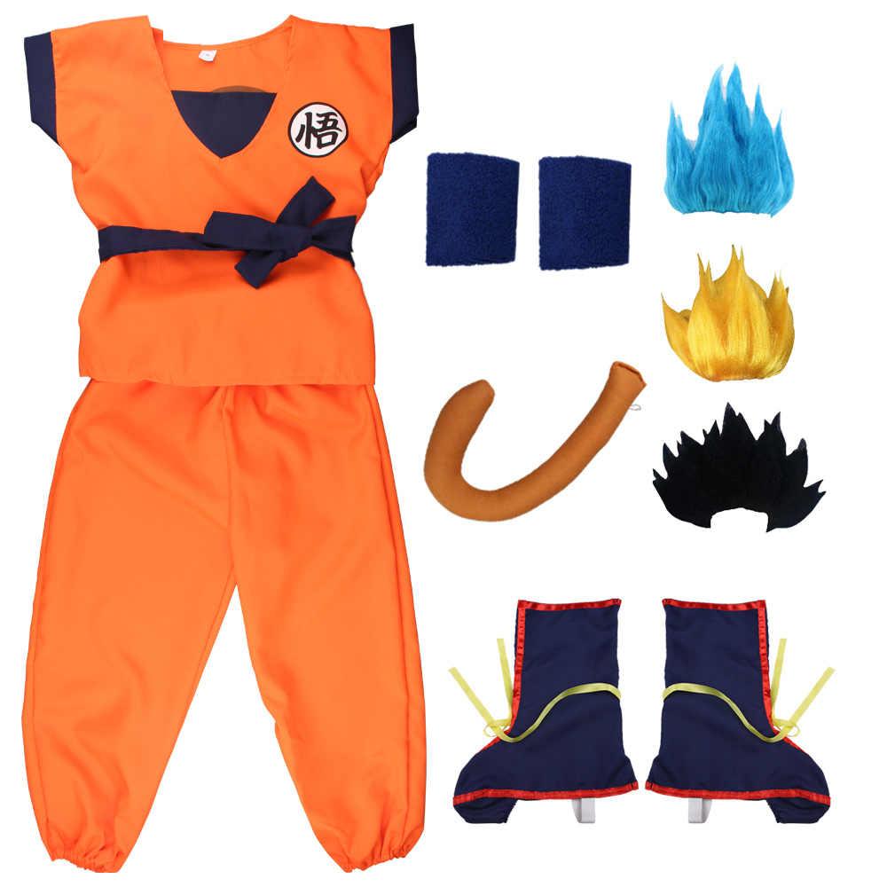 Gratis Verzending Vakantie Dragon Ball Suits Zoon Goku Carnaval Anime Cosplay Kostuums Top/Broek/Riem/Staart/wrister/Pruik Voor Volwassen Kinderen