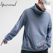 Yasword Street Style Men Casual Sportswear Pure Color High Collar Oversize Hoodie Pullover Warm Tops