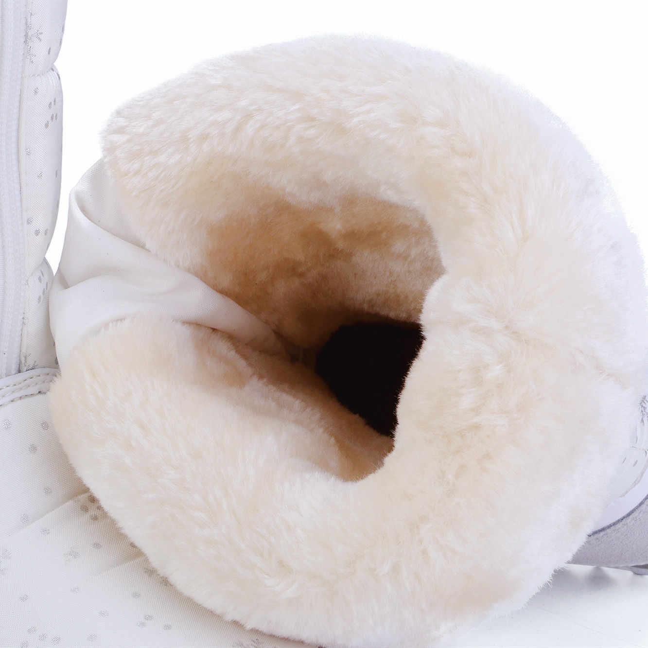 2019 Kışlık botlar Yüksek Kadın Kar Botları peluş sıcak ayakkabı Artı boyutu 35 büyük 42 kolay aşınma kız beyaz zip ayakkabı kadın sıcak botlar