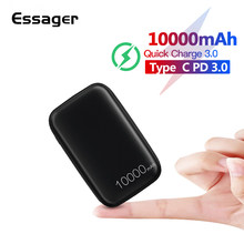 Essager 10000mAh Mini batterie d'alimentation 10000 Charge rapide 3.0 petit Powerbank pour Xiaomi Mi USB C PD chargeur de batterie externe Portable(China)