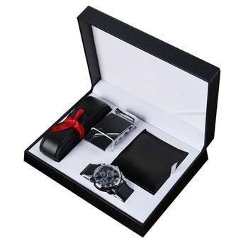 3pcs Valentine's Day PU Fashion Boyfriend Wallet Watch Belt Husband Men Accessories Gift Set Colleague Father Box Birthday Black