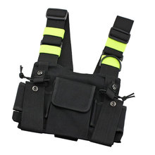 Nylon Radio Chest Harness Universal Reflective Holster Vest Pack Front Waist Pouch With Adjusted Shoulder Strap For WalkieTalkie