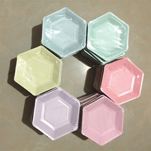 60 stücke Pastell Lila Hexagon Party Papier Platten Baby Dusche Geburtstag Hochzeit Party Supplies Einweg Geschirr 6 Farben
