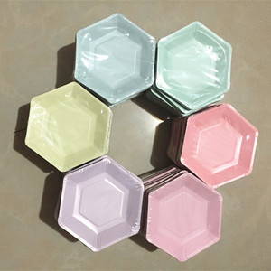 Image 1 - 60pcs Pastel Lilac Hexagon Party Paper Plates Baby Shower Birthday Wedding Party Supplies Disposable Tableware 6 Colors