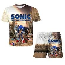 2021 crianças roupas meninos meninas dos desenhos animados sonic outfits camiseta + shorts verão crianças lazer ternos t ternos 4 a 14 anos
