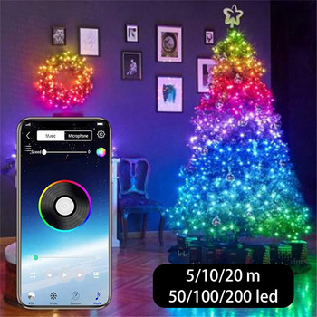 USB LED String Light Bluetooth App Control Copper Wire String Lamp Waterproof Outdoor Fairy Lights for Christmas Tree Decoration