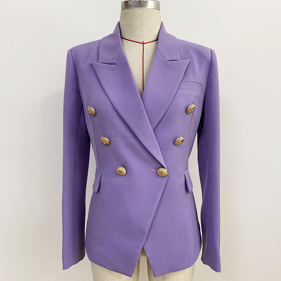 HIGH QUALITY 2020 Newest Designer Blazer Jacket Women's Metal Lion Buttons Double Breasted Blazer Lilac Plus Size S-3XL
