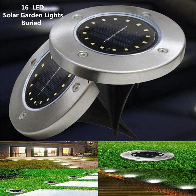 Outdoor Solar Lights 16 Led In-Ground Path Lights Solar Garden Lights Waterproof For Outdoor Walkway Lawn Pathway Yard Decking