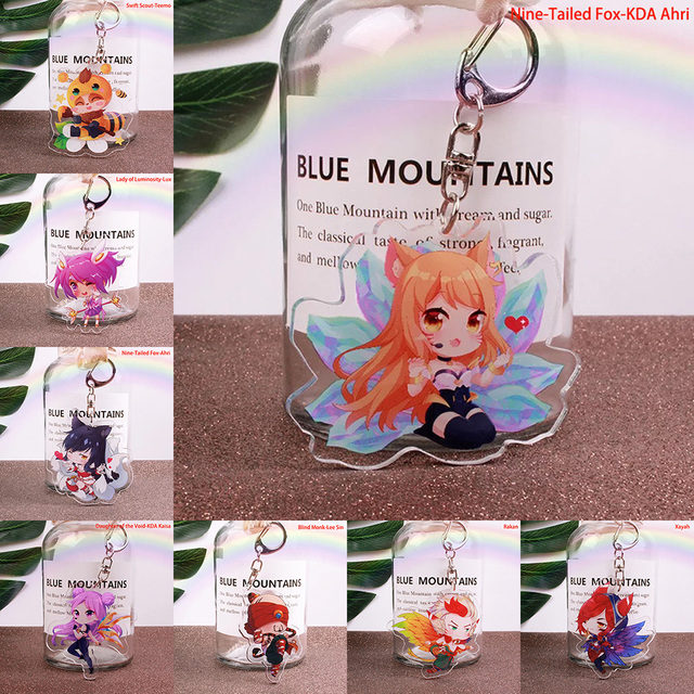 Cute Cartoon Game League of New Legends Keychain LOL Acrylic Figure Rakan/Ahri/Riven/Yasuo Bag Pendant Car Key Charm Porte Clef