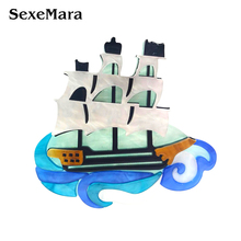 SexeMara Hot Selling Sailboat Acrylic Resin Brooch For Women Men Boat Shape Clothes Accessories  Corsage Pins Clips