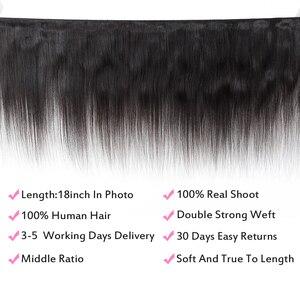Image 2 - Fabc cabelo brasileiro feixes de cabelo em linha reta com fechamento pré arrancadas 3/4 pacotes preto natural não remy cabelo humano frete grátis