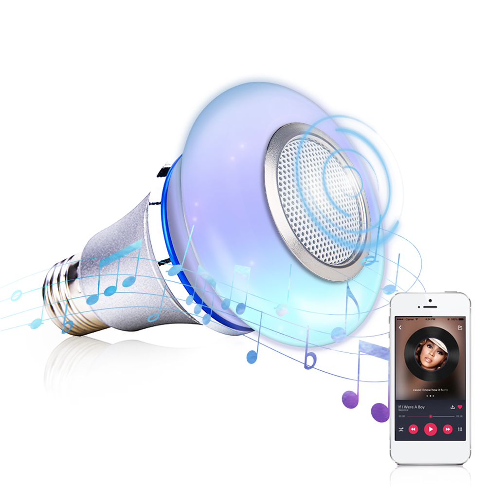 Led Audio Playing Mini Music Light Bulb Wireless RGB Dimmable Color Changing Smart Life Remote Control Home Bluetooth Speaker
