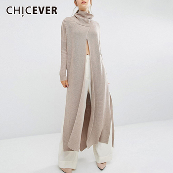 CHICEVER Casual Sweater For Women Turtleneck Long Sleeve Split Loose Designer Knitted Pullovers Sweaters Female 2020 New Clothes [eam] pelated split big size knitting sweater loose fit turtleneck long sleeve women pullovers new fashion spring 2020 1m877