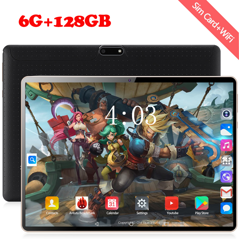 Newest 10.1 Inch Tablet Android 8.0 10 Core 6GB RAM 128GB ROM 3G 4G FDD LTE Wifi Bluetooth GPS Phone Call Glass Screen Tablet Pc